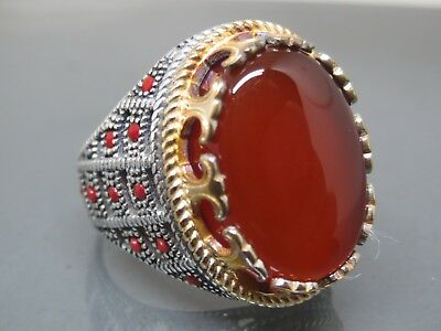 Turkish Handmade Jewelry 925 Sterling Silver Agate Stone Men's Ring Sz 8,5