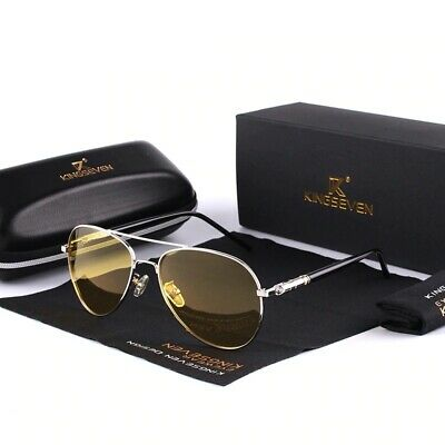 New Men High-End Night Vision Polarized UV400 Driving Glasses Aviator Sunglasses