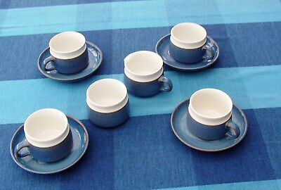 Denby Chatsworth four cups and saucers and milk jug plus sugar  basin