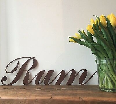 A Rusty RUM Lettering Letters Sign Metal Word Shop Home bar Pub Cafe Rustic