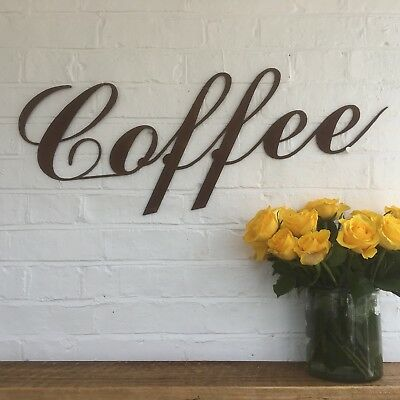 Rusty COFFEE Letters Word Rustic Sign Metal Shop Home bar Pub Cafe Bistro