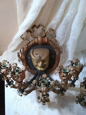 Vintage Candle Wall Sconce Candelabra Metal Gothic Medieval Lighting
