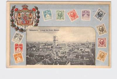 Antique Postcard Denmark View From Hotel Bristol Stamps Birds Eye View Of City