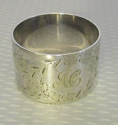 "antique Victorian silver plate NAPKIN RING 1"" round etched monogrammed AC"