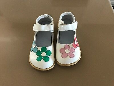 Girls Mary Janes White Floral Leather shoes like Livie and Luca sz12 13 NEW
