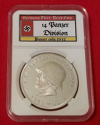WW2 WWII Nazi German Third Reich NSDAP 4th Panzer Division slabbed coin 1942