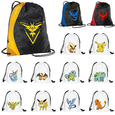 Pokemon Go Drawstring Backpack Rucksack School Sport Gym Swim PE Dance Shoe Bag
