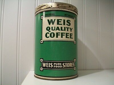 Weis Food Stores Coffee Tin Canister Antique Advertising Can One Pound