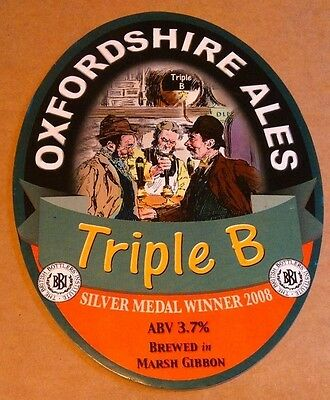 Beer pump badge clip OXFORDSHIRE brewery TRIPLE B real cask ale pumpclip front