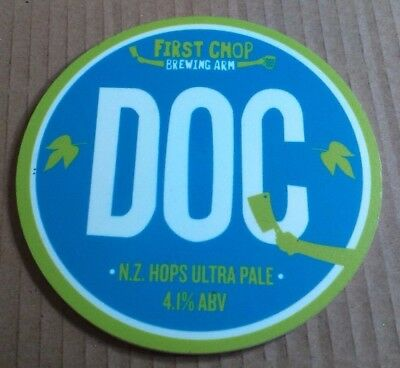 Beer pump badge clip FIRST CHOP brewery DOC cask real ale pumpclip front Manc