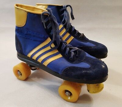 Vintage Retro Blue & Yellow Striped Suede Style Roller Skates UK Size 11 1980s