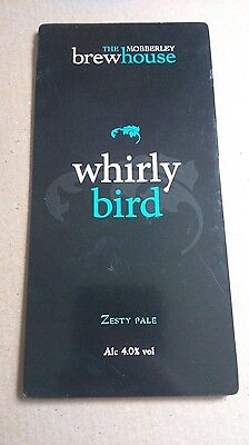 Beer pump badge clip MOBBERLEY brewery WHIRLY BIRD real cask ale pumpclip front