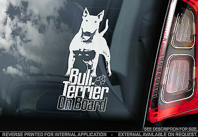 English Bull Terrier - Car Window Sticker - Dog on Board White Sign Gift - TYP7