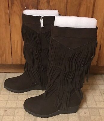 NIB Kenneth Cole Reaction Simone's Fringe Dk Brown Suede Girl Boots Size 12-1/2
