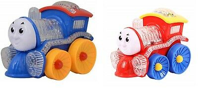 Bump & Go Train With Flashing Lights And Music Sound Toddler Toys Blue / Red