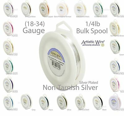 Silver Artistic Wire Tarnish Resistant Silver Plated Wire - 1/4lb Spool