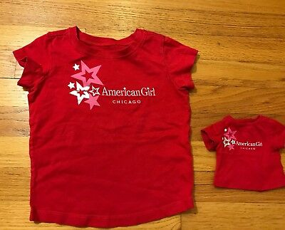 American Girl Place CHICAGO Girls T-Shirt Size 6 and Matching Doll Shirt