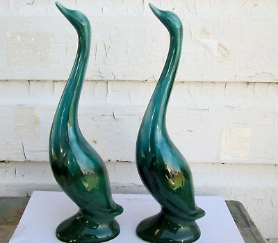 2 Vintage Japan Pottery Long Neck Swans Blue Mountain Pottery Style Colors
