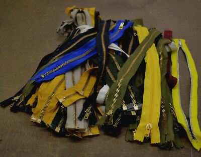 """lot of 60 Assorted wholesale mixed colors Metal (brass) zippers 12-15"""" Size"""
