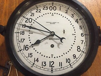 Vintage Chelsea Clock Co. U.S. Government Clock, 24 Hour, Marine Navy, with key
