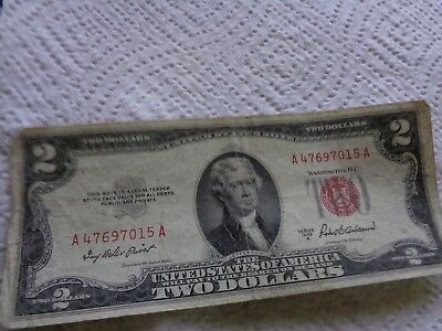 1953 A $2 Bill Red Seal Note Currency United States Two Dollar 47697015A