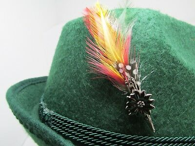 Feather with Edelweiss Base Oktoberfest Hat Pin
