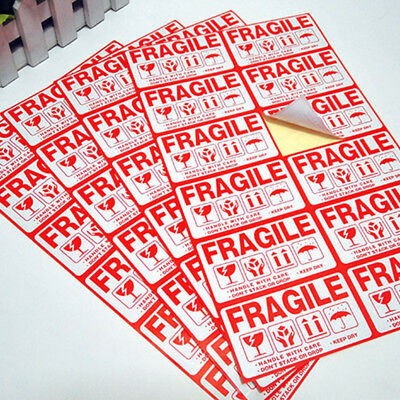 Self-adhesive Label Sticker Red White Fragile Handle With Care Shipping Mark