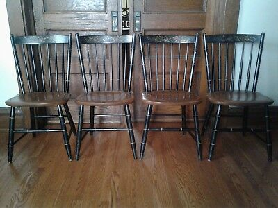 4 Hitchcock Chairs, Black/Harvest Classic Country Side