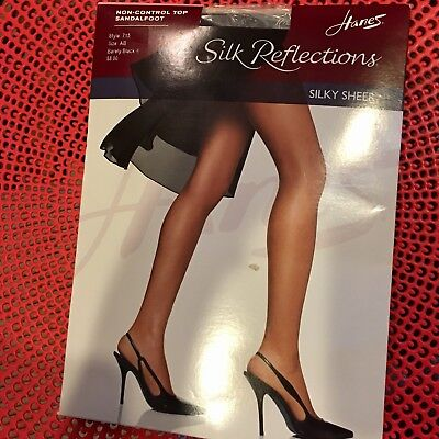 e96f2e7c81dc8 Hanes Silk Reflections Pantyhose Barely Black Sz AB STYLE 715. New in  package.