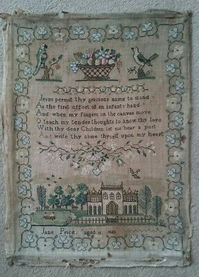 Early 19Th Century Sampler By Jane Price, Aged 11 - 1820