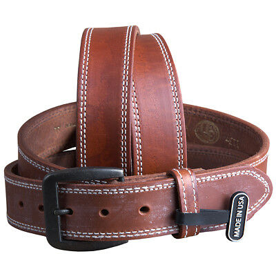 """3D 1 1/2"""" Wide Mens Leather Stitched Western Basic Belt Brass Buckle Brown"""