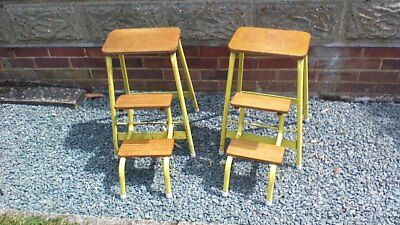 Vintage Retro Kitchen Step Stool Folding Ladders Display Prop 60s Chic Rustic