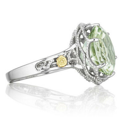 Tacori Green Quartz Ring Sterling Silver/18K Yellow Gold (size 5)
