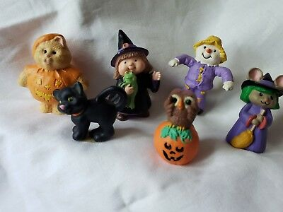 6 Hallmark Merry Miniature Halloween Witch Cat In Pumpkin Mouse Witch Scarecrow