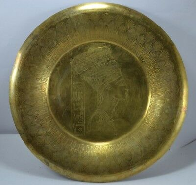 Antique vintage handmade Ancient Egypt plate Of Egyptian copper very rare pièce