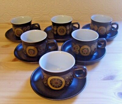 DENBY ARABESQUE PATTERN SET OF 6 x TEA CUPS AND SAUCERS