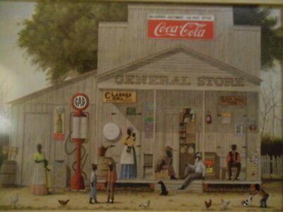 J.meyers Black Americana Sealed And Matted General Store Folk Art Print Cocacola