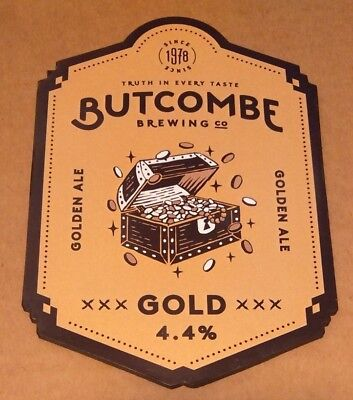 Beer pump badge clip BUTCOMBE brewery GOLD real cask ale pumpclip front
