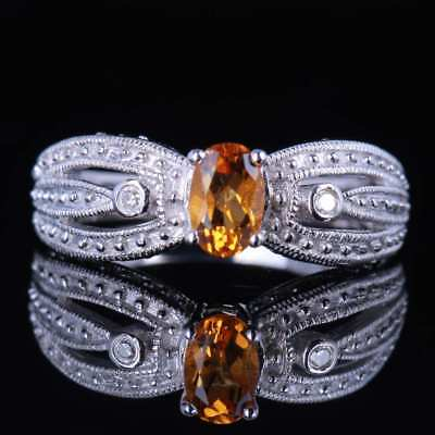 6x4mm oval engagement wedding fashion citrine diamonds ring 10k white gold