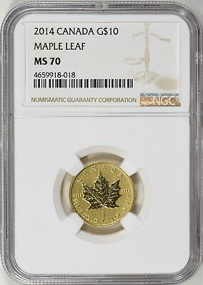2014 Canada Gold Maple Leaf 1/4 oz $10 - NGC MS70 Top Population of 1!
