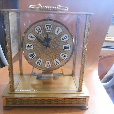 rare ,vintage Kundo electromagnetic, brass/ and glass mantel/carriage clock