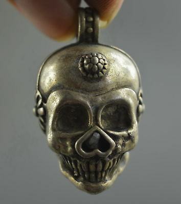Collectable Handwork Decor Miao Silver Carve Ghost Skull Head Flower Pendant