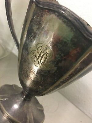 Silver plated or possibly nickel silver Trophy vase antique monogrammed shabby