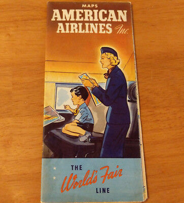 Vintage American Airlines Collectible Route Map Brochure World's Fair Line