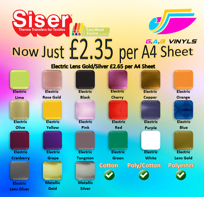A4 sheets Siser Easyweed Electric & Metalic HTV - including Rose Gold