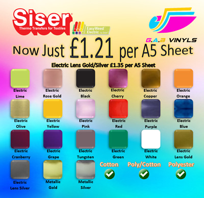 A5 sheets Siser Easyweed Electric & Metalic PREMIUM HTV - including Rose Gold