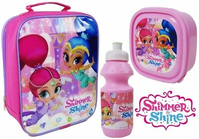 Shimmer And Shine Insulated Lunch Bag Bottle Sandwich Box Girls School 3pc Set