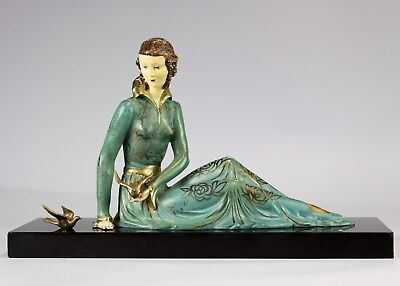 1920/1930  Art Deco Sculpture - Figure Of Lady With Birds Signed Limousin