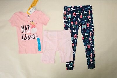 CARTER'S Girl's 3 Piece Short Sleeve Top Leggings Shorts Pajamas Sleep Set 4T