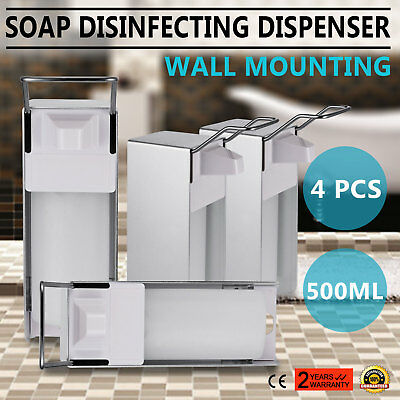 4x500ML Wall Mount Soap Dispenser Shower Shampoo Liquid Portable Metal Movable